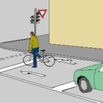 En fin de piste ou bande cyclable : un sas à vélo