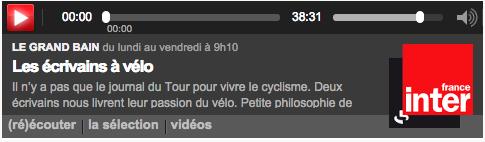 Les écrivains à vélo (Lionel Duroy & Bernard Chambaz) – France Inter