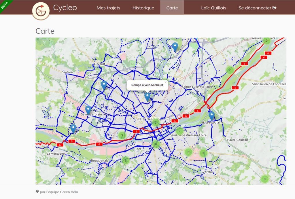 Cycleo - La politique vélo-travail au coeur de l'entreprise - carte webapp